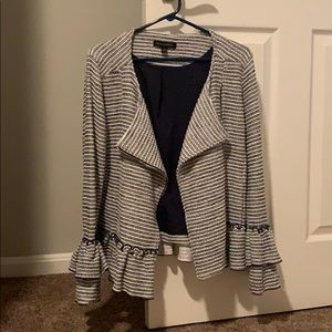 Banana Republic Navy and white striped blazer.